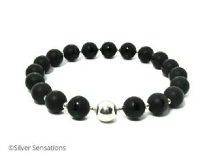 Frosted Black Onyx Stripe Beads & Sterling Silver Beaded Bracelet